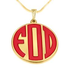 "$59.95 Gold plated Cirecle Sterling Silver Personalized with Any 3 Enamel Coating Letters Monogram Necklace with 16"" (41 Cm) Box Chain"