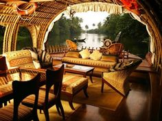 The lush green landscape and being served a freshly prepared meal at Houseboat in Alleppey, Kerala