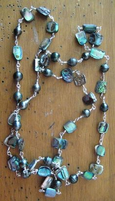 Sterling silver, Tahitian pearls and abalone necklace.