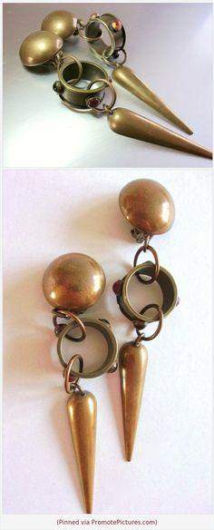 Antique coral branch earrings unsigned earrings brass screw style earrings