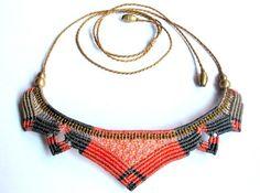 grey and salmon macrame lotus necklace boho bohemian hippie micro macrame necklace