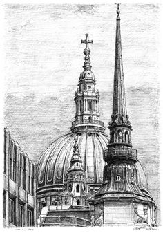 Architecture Drawing Discover The Dome of St Pauls Cathedral - Original drawings prints and limited editions by Stephen Wiltshire The Dome of St Pauls Cathedral - originals and prints by Stephen Wiltshire MBE Architecture Antique, Architecture Sketchbook, Art Sketchbook, Art And Architecture, Building Drawing, Building Sketch, Desenhos Van Gogh, Stephen Wiltshire, Cityscape Drawing
