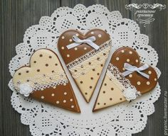 Heart cookies in brown and ivory, polka dots, piped delicate lace, by Koshantaeva Tatyana, posted on Cookie Connection