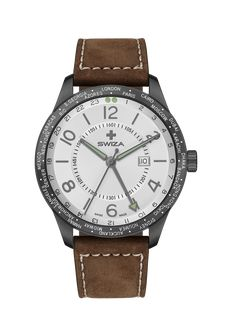 Case: Stainless steel 316L with gunmetal PVD coating Size: 48mm Lug width: 24mm Strap: Genuine calf leather Movement: Swiss precision quartz movement / Rond