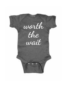 worth the wait - design 5 - white print - baby onesie one piece bodysuit #pregnancyannouncementonesie,