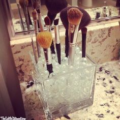 Make-up brush holder- you can use marbles, pebbles, beads, coffee beans etc.