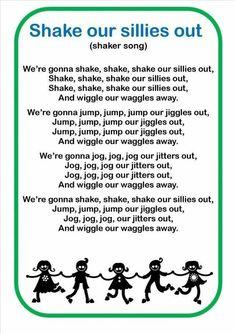 shake my sillies out song words Kindergarten Songs, Preschool Songs, Preschool Learning Activities, Preschool Lessons, Preschool Classroom, Kids Songs, Montessori Elementary, Transition Songs For Preschool, Silly Songs