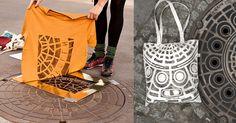Usando públicos artefatos da rua como elementos de impressão, os artistas por trás do projeto Raubdruckerin com sede em Berlim produzem camisas e bolsas impressas com tampas de bueiros. Os padrões geométricos e as formas tipográficas negligenciados originam designs surpreendentemente bacanas para as camisas.