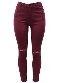 Burgundy Ripped Knee Skinny Jeans