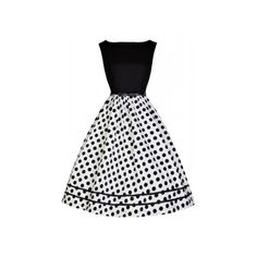 Audrey monochrome swing dress -- Positively darling party dress with a classic fit-and-flare silhouette, black fitted bodice and fabulously full polka dot swing skirt. Vintage Inspired Fashion, Vintage Fashion, Vintage Style Dresses, Vintage Outfits, Dress Outfits, Fashion Outfits, Fashion Ideas, Swing Skirt, Super Cute Dresses