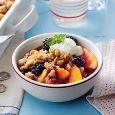 Blackberry-Peach Cobbler with Praline-Pecan Streusel | MyRecipes.com