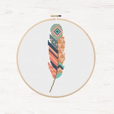 Bird Stitching Stencil Instant Download Tribal Feather Stencil Aztec Apartment Art Trendy Cubicle Art Color Palette Feather Stitching Modern