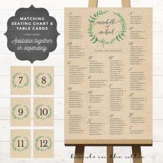 Portrait Wedding Seating Chart Board White Poster Printable