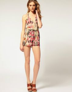 Chiffon floral print short pants,sexy onepiece!