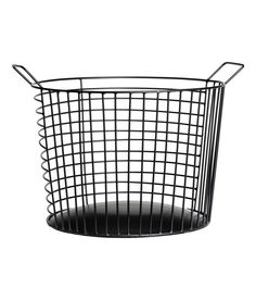 Check this out! Large, round metal wire basket with two handles at top. Height 8 in., diameter 11 in. - Visit hm.com to see more.