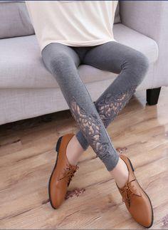 2015 mujeres del verano fino de punto de algodón Modal elástica leggings alta calidad ahueca hacia fuera sección delgada mediados de cintura de los pantalones 4 color en Leggings de Moda y Complementos Mujer en AliExpress.com | Alibaba Group