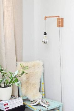 The Cloth Cord Copper Pipe Sconce.
