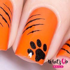 Kitty Scratch Stencils for Nails, Halloween Nail Stickers, Nail Art, Nail Vinyls Diy Nail Designs, Halloween Nail Designs, Halloween Nail Art, Halloween Stickers, Diy Nails, Cute Nails, Fancy Nails, Glitter Nails, Basketball Nails
