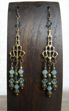 DIY ~ Lantern filigree earrings with oceanic shades of crystal rondelle beads.
