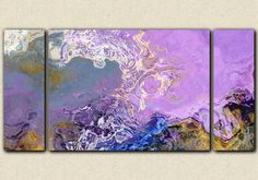 30x60 Large triptych abstract expressionism stretched canvas print in lilac and blue Lilac Festival
