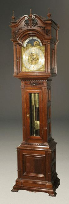 Waterbury hall clock #72 made in mahogany with 8 day movement, circa 1900. #antique #clock