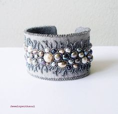 Bead embroidery cuff bracelet with freshwater by jewelrywithsoul, $140.00
