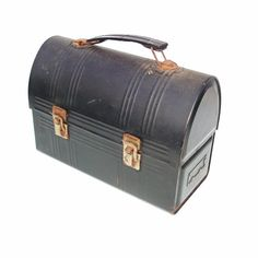 SOLD - Old Metal Lunch Box Black Lunchbox Aladdin Workers by WhimzyThyme