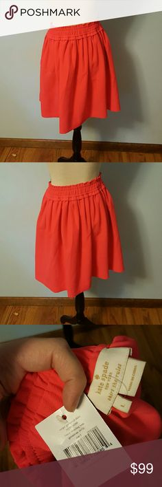 Kate Spade Geranium Crepe Gathered Skirt Kate Spade Geranium Crepe Gathered Skirt. New with tags, size Large.  Full skirt silhouette. Slip-on style. Smocking at waist. Gathered detail. Side hand pockets. Straight-cut hem. 100% polyester.   Approximate measurements: 20 inches Length 30 inches Waist 40 inches Hip Around   Elastic closure kate spade Skirts A-Line or Full