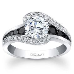14K White Gold engagement ring with black and white diamonds by Barkev's from Ben Garelick Jewelers http://qoo.ly/fjkiq