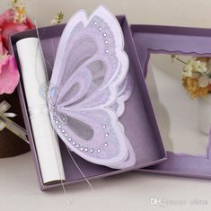 Purple Elegant Butterfly Wedding Invitations with Blank Scroll Cards Paper Box Christening Invites Online with $6.24on Ukina's Store | DHgate.com
