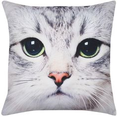 M&Co Cat Photo Print Cushion featuring polyvore, home, home decor, throw pillows, pillows, animals, filler, grey, animal throw pillows, dog throw pillow, cat throw pillow, m&co and gray accent pillows