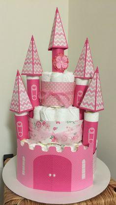 Baby Girl Castle Diaper Cake - http://www.babyshower-decorations.com/baby-girl-castle-diaper-cake.html