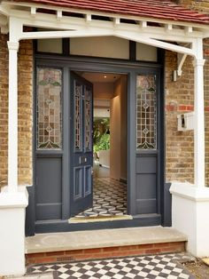 New house front door entrance porches Ideas Front Door Steps, Front Door Porch, Front Door Entrance, House Front Door, Glass Front Door, House With Porch, Entry Doors, Front Porches, Front Entry
