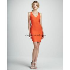 Herve Leger Orange V-neck Bandage Dress HT107O
