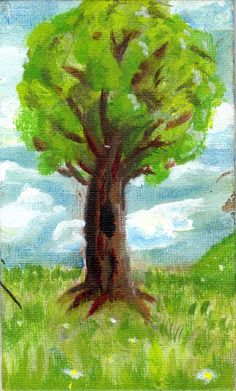 Tree in Spring, 2015, Acrylic Painting on Canvas Panel, 3x5 Study