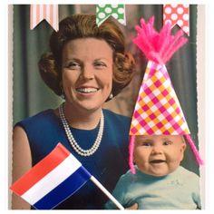 (Foto:onze koning in z'n jonge jaren) Ik heb de foto's/kaarten iets opgepimpt maar buiten dat blijft het een schattig beeld. Ik wens iedereen alvast een hele fijne, ontspannen, liefst zonnige koningsdag toe. En mochten jullie Willem nog tegenkomen doe de groetjes van mij! www.juffrouwgans.nl