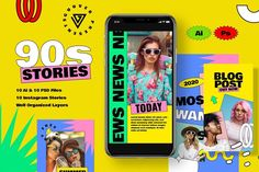 10 instagram stories template with 90s style perfect for any kind of your promotion. 90's IG story ideas are so joyful that it will boost number of your Instagram followers. $10 #sponsored #ad
