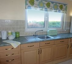 The Kitchen with a view over the bay in Woodlea - Self Catering Cottage lsle of Arran, Scotland Isle Of Arran, Self Catering Cottages, Valance Curtains, Scotland, Kitchen, Home Decor, Cooking, Decoration Home, Room Decor