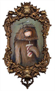 Artwork: Johan Potma, painting, acrylics, Illustration, monster, monsters, berlin, freaks, misfits, zozoville, the cheese mountain tragedy, www.johanpotma.com, character, character design