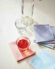 These easy-to-make seersucker napkins are the perfect addition to your home, especially during the summer months when you're hosting outdoor parties. The classic fabric is inexpensive and available at almost any cloth store, so you can mix and match a few colors. Even better, seersucker's slightly puckered texture means there's no ironing required.