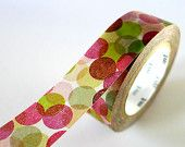 PINK Polka Dots Japanese Washi Tape -  15mm MT from PrettyTape