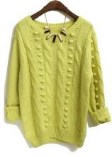 Yellow Long Sleeve Polka Dot Embellished Sweater $33.87
