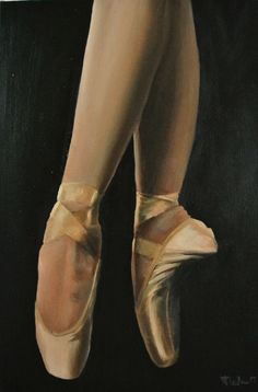 Pointe, Ballet Painting, Ballerina Dancer, Framed Artwork by GB Impressionist #Realism