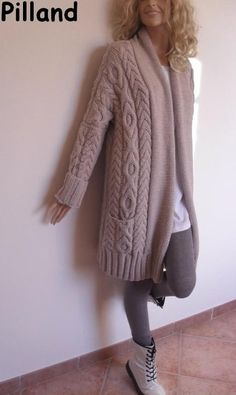 Tejidos - Knitted 2 - Women's Cable Knit Sweater, Knitted Merino Wool Cardigan, Many colors available Cable Knit Cardigan, Cable Knit Sweaters, Sweater Cardigan, Cardigan Pattern, Knit Jacket, Hand Knitting, Knitting Patterns, Tricot D'art, Sweater Coats