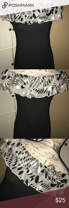 """Gender Bias Off The Shoulder Top This sweet top is quality made with graphic design on the sheer collar. Modal/Spandex, stretchy fabric. 17.5"""" pit to pit. 20"""" from collar to hem. Gender Bias Tops"""