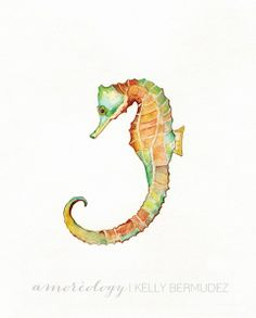 Seahorse Song  /teal orange blue green yellow by kellybermudez, $20.00
