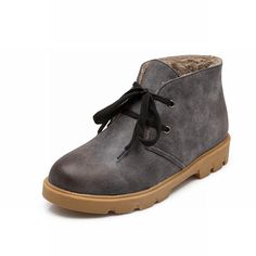 Women's Vintage Faux Leather Lace-up Ankle High Chunky Chukka Boots