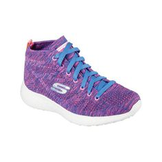 Women's Skechers Burst Divergent High Top - Purple/Blue Athletic ($77) ❤ liked on Polyvore featuring shoes, sneakers, hi tops, purple sneakers, purple shoes, high top sneakers and training shoes