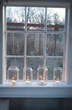 over-sized jars on the windowsill