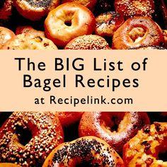 The Big List of Bagel Recipes, Baking Tips and Tutorials - Recipes, Breads, Breakfast Breads Baking Tips, Baking Recipes, Easy Recipes, Coffee Recipes, Bread Recipes, Coffee And Bagel, Whole Wheat Bagel, Bagel Shop, Bagel Bar